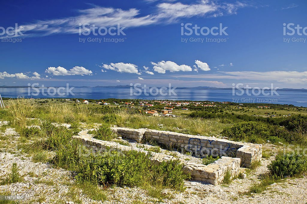 Island of Vir church ruins stock photo