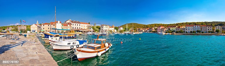 istock Island of Zlarin harbor panoramic view, Sibenk archipelago of Croatia 893276182