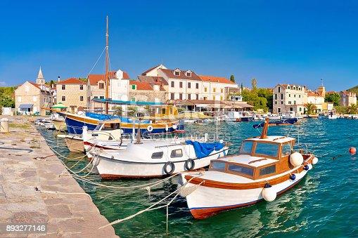 istock Island of Zlarin harbor panoramic view, Sibenk archipelago of Croatia 893277146