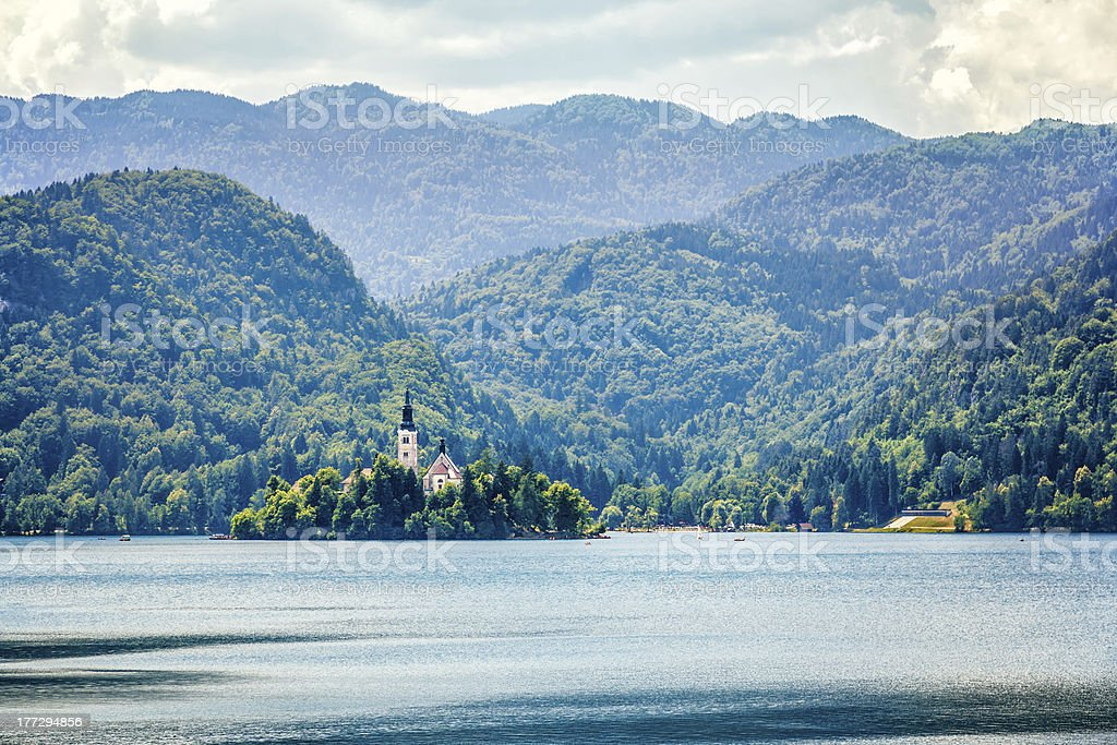 Island on lake Bled royalty-free stock photo