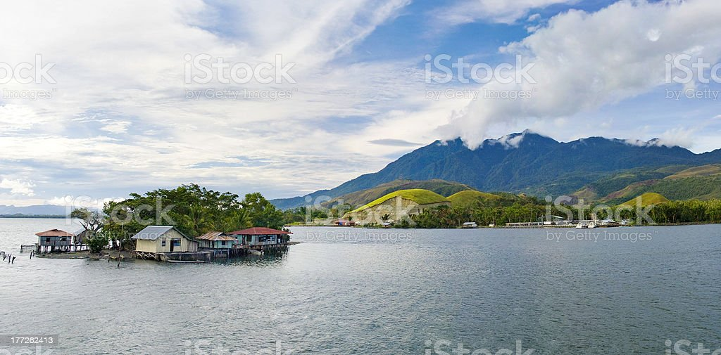 island on the lake Sentani, New Guinea stock photo