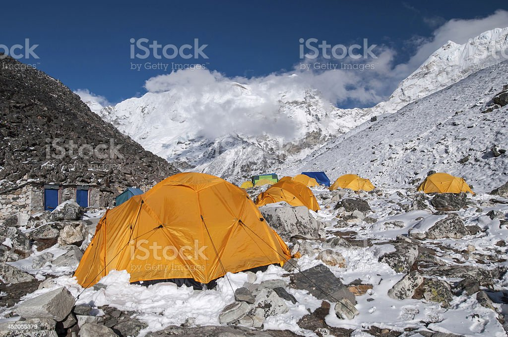 Island Peak (Imja Tse) base camp, Nepal stock photo