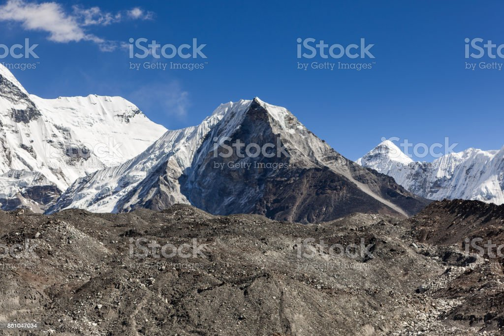 Island Peak or Imja Tse view on the way to Everest Base Camp in Sagarmatha National Park, Himalayas, Nepal. stock photo
