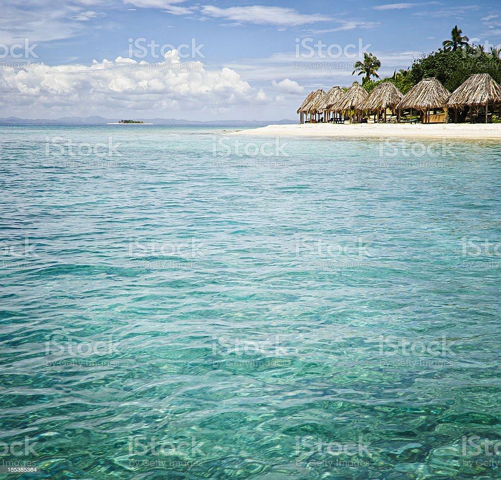 Island Resort from the Sea stock photo