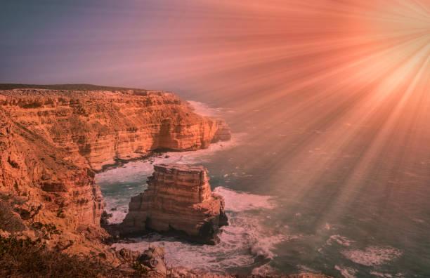 island rock kalbarri western australia. - central coast california stock photos and pictures