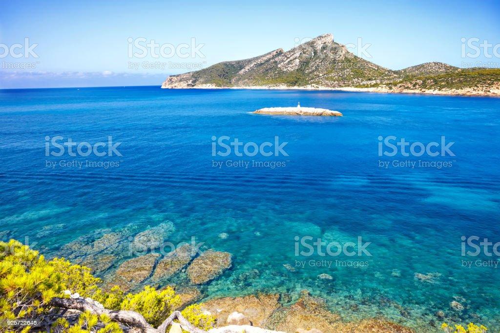 Island scenery, seascape of Mallorca Spain. Idyllic coastline of Majorca, Mediterranean Sea on sunny day stock photo