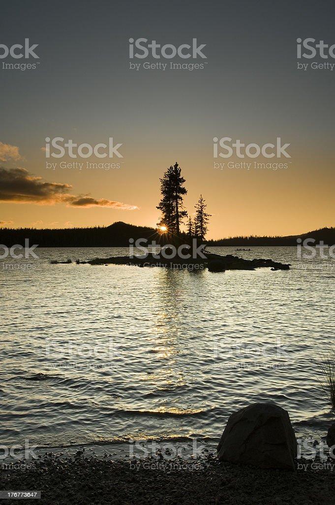 Island Silhouette, Waldo Lake, Oregon royalty-free stock photo