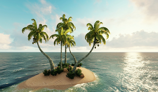 Island, Small island in ocean. 3d render