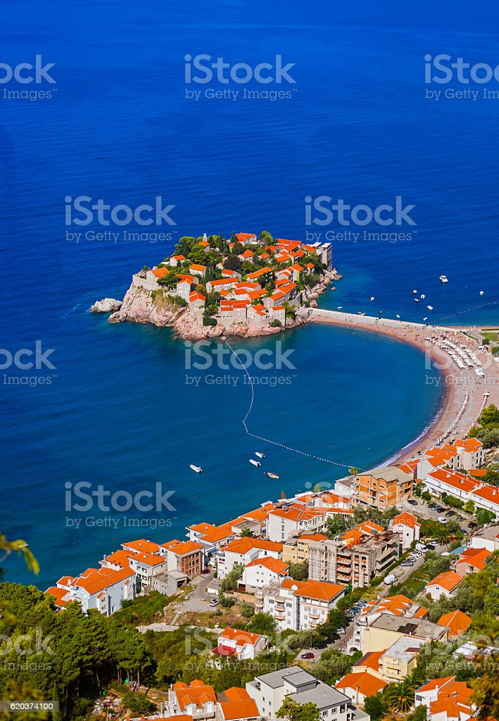 Island Sveti Stefan - Montenegro zbiór zdjęć royalty-free