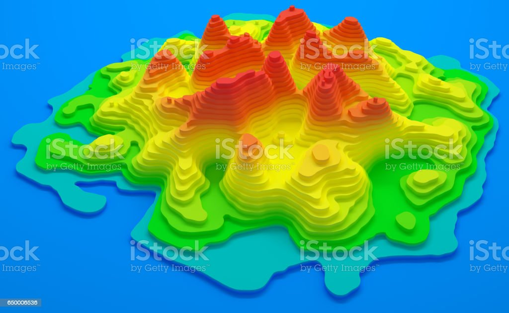 Island Topographic Map stock photo