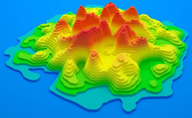 Island Topographic Map stock photo