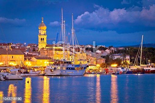 istock Island town of Krk evening waterfront view, Kvarner region of Croatia 1043218190