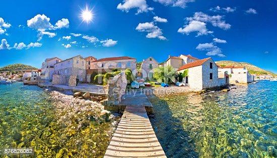 istock Island town of Vis idyllic waterfront view, archipelago of Dalmatia, Croatia 876826082