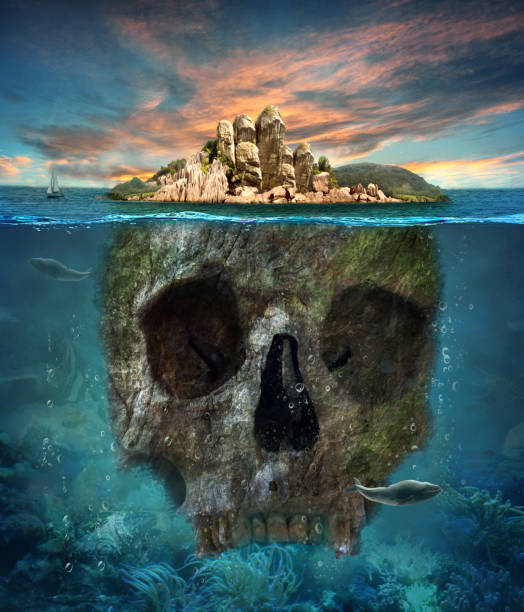 insel. unterwasser scull. konzept-grafik im weichen ölgemälde-stil. - die toteninsel stock-fotos und bilder