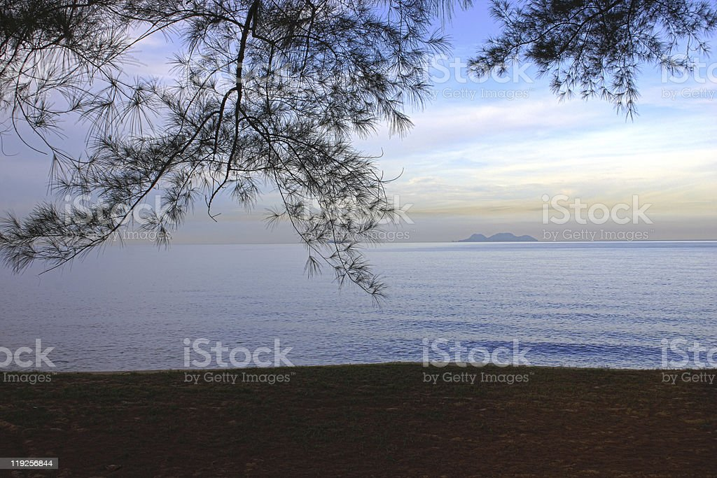 island view from a beach stock photo