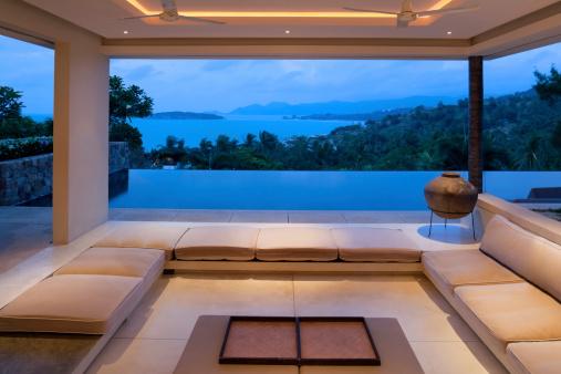 Island Villa Living Room Stock Photo - Download Image Now
