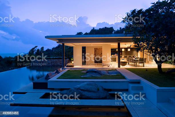 Island Villa Vacation Home With Swimming Pool Stock Photo - Download Image Now
