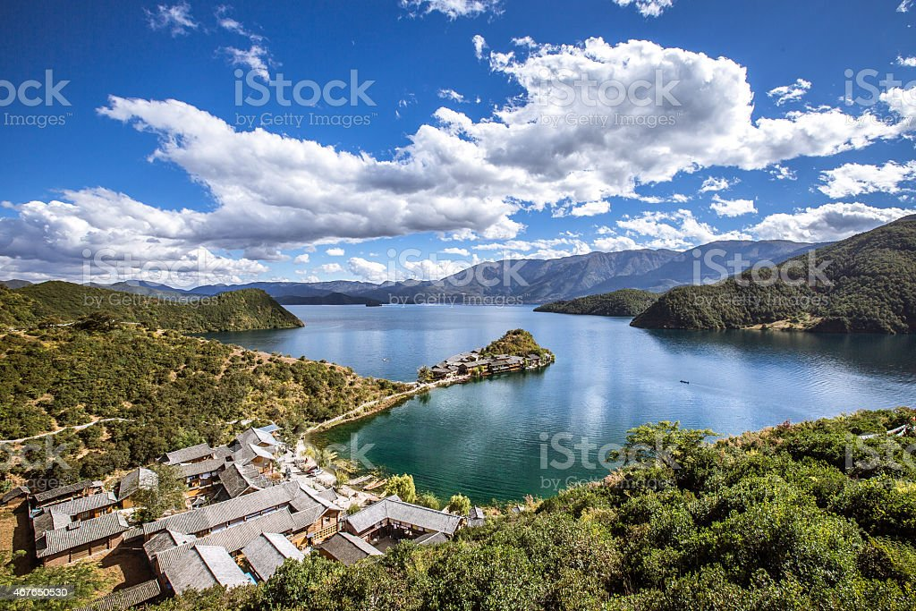 Island, village on Lugu lake stock photo