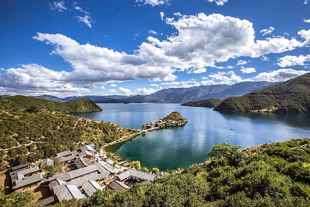 Island, village on Lugu lake stock photo