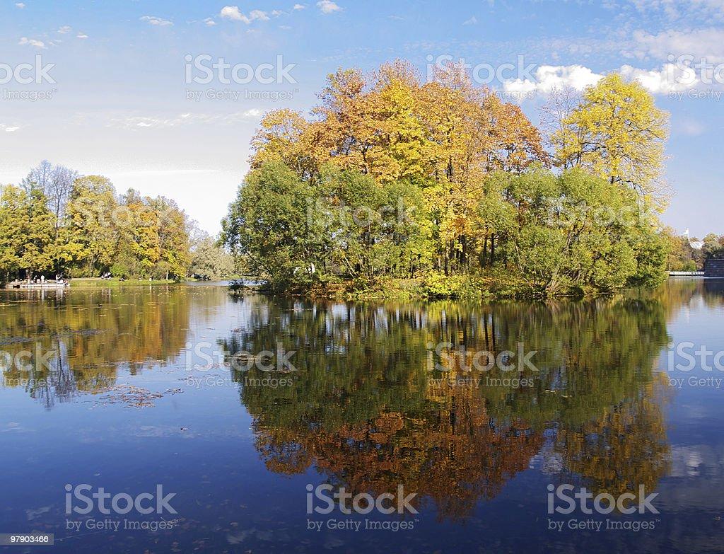 Island with autumn trees royalty-free stock photo