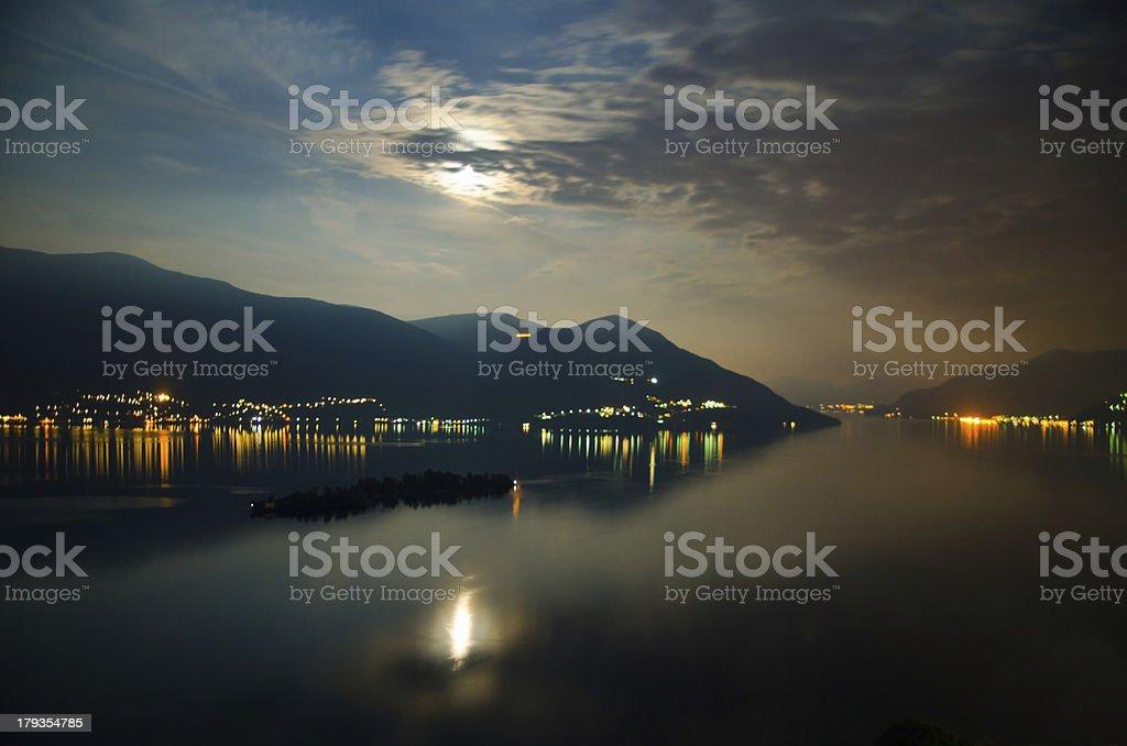 Island with moon light stock photo