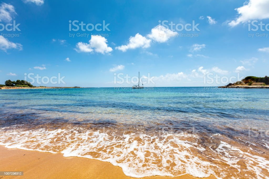 Island with orange sand beach stock photo