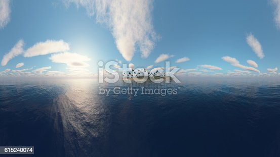 istock Island with palm trees. 3D Rendering. 615240074