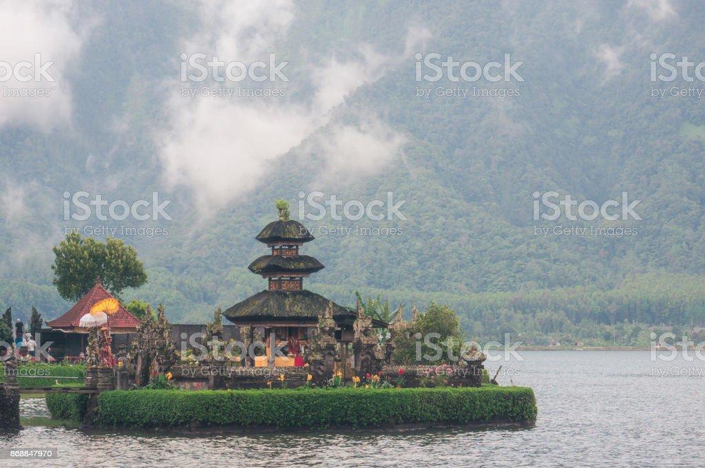 Island with the temple on Bratan lake stock photo
