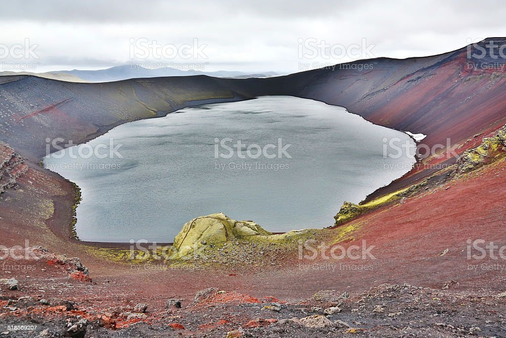 islandic crater lake stock photo