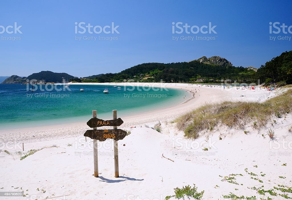 Islands Cies in Vigo, Spain. stock photo