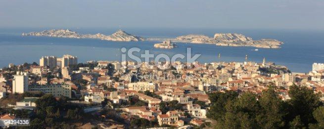 View of  beautiful city - Marseille. Apar visible group of islands - Iles du Frioul.