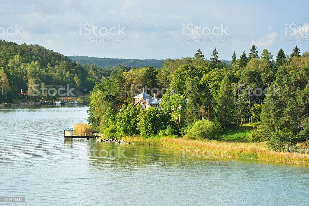 Islands in archipelago of Turku stock photo