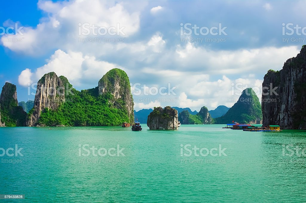 Islands in Halong Bay, Vietnam, Southeast Asia stock photo