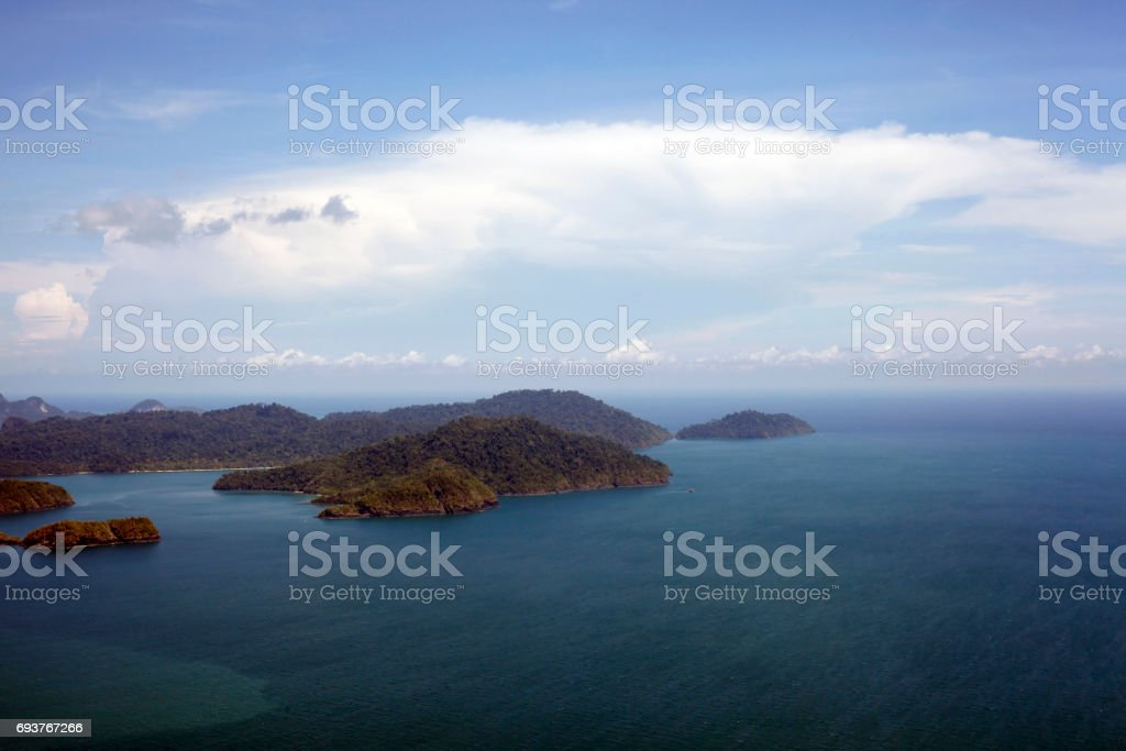 Islands Langkawi from height of the bird's flight stock photo