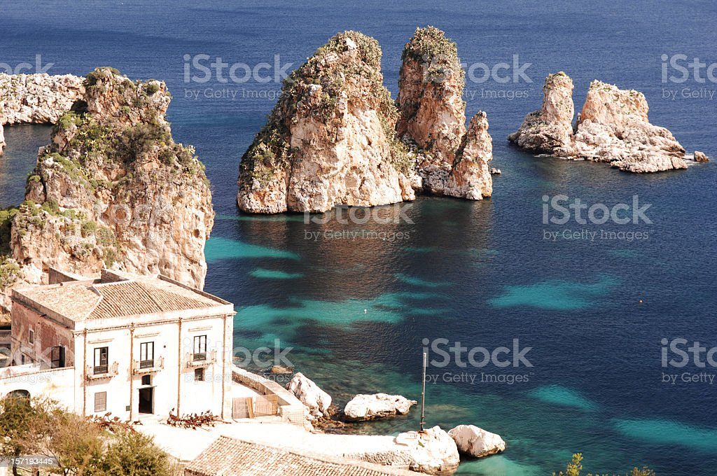 Islands next to the shore with home royalty-free stock photo