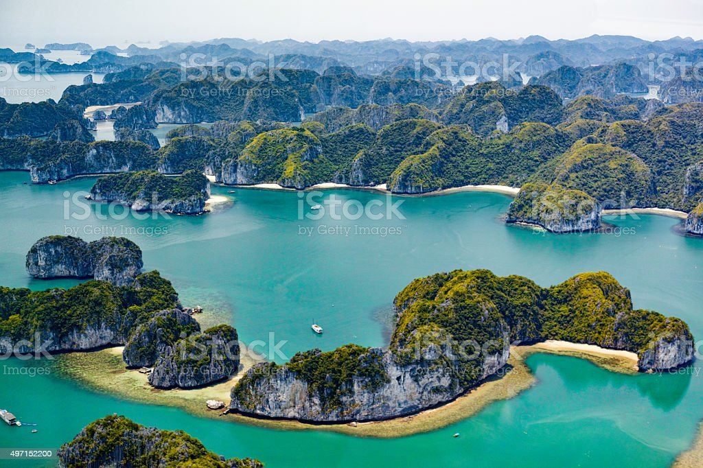 Islands of Ha Long Bay, Vietnam stock photo