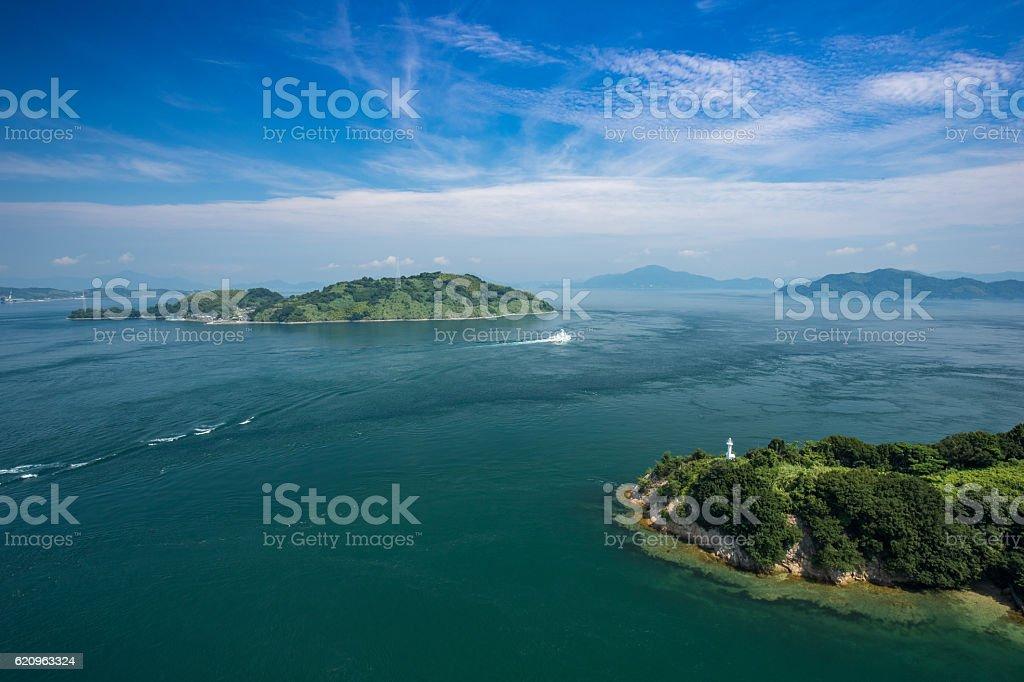 Islands of Kurushima in Seto Inland Sea, Japan stock photo