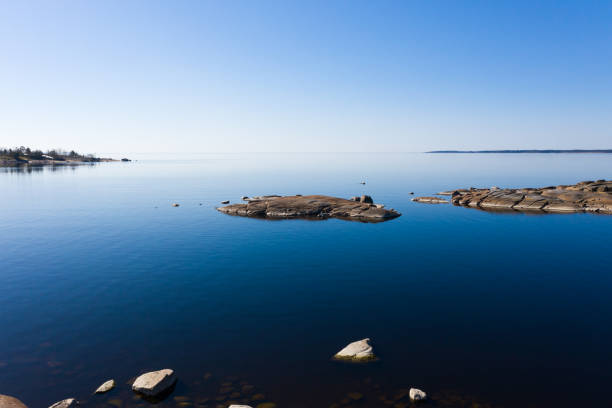 Islands of the Baltic Sea. View from above. Spring morning Calm stock photo