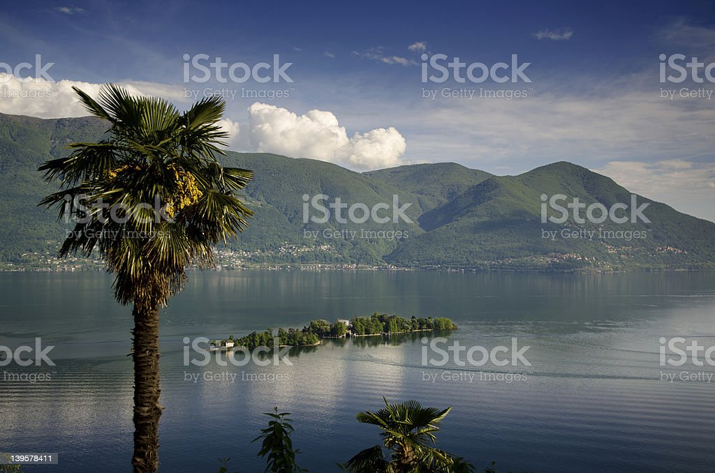 Islands on the Alps Lake stock photo