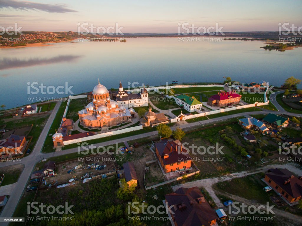 Island-town Sviyazhsk at the sunset. Aerial view stock photo
