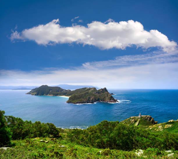 Islas Cies islands San Martino island in Vigo Galicia stock photo
