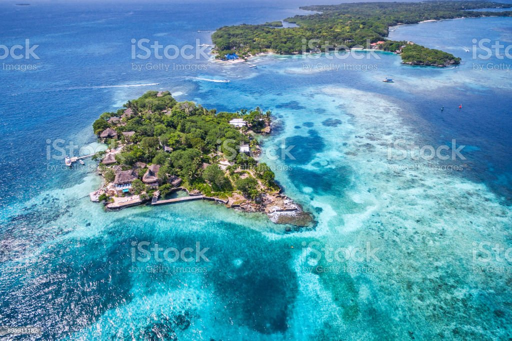 Islas del Rosario in Cartagena de Indias, Colombia, Aerial View stock photo