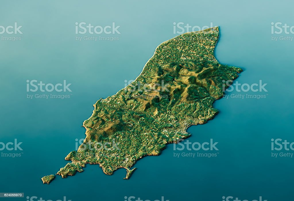 Isle Of Man 3d Landscape View Southnorth Natural Color Stock Photo