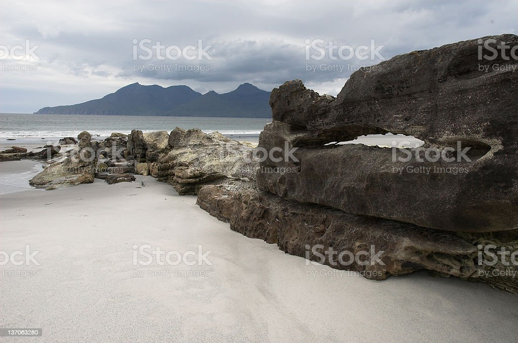 Isle of Rum from Singing Sands stock photo