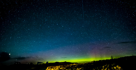 Isle Of Skye Northern Lights And Stars Stock Photo - Download Image Now