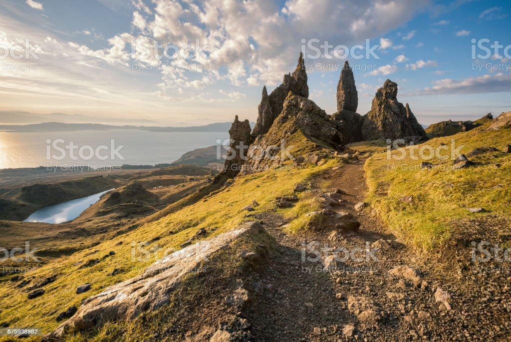 Isle of Skye, Scotland. The Old Man of Storr at sunrise stock photo