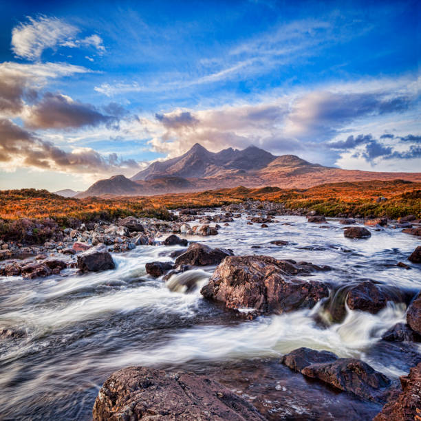 Isle of Skye The Cuillins from Elgol The Cuillin range and River Sligachan, Skye,Highlands, Scotland, UK. isle of skye stock pictures, royalty-free photos & images