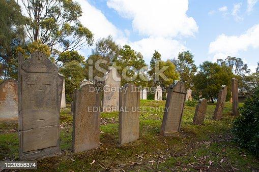 Port Arthur, Australia - September 21 2009: Isle of the Dead Cemetery at Port Arthur in Tasmania, Australia