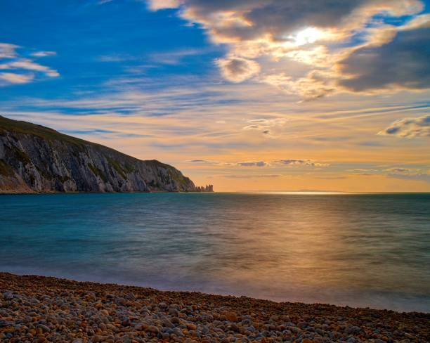 Isle of Wigh, The Needles, Impressionist stock photo