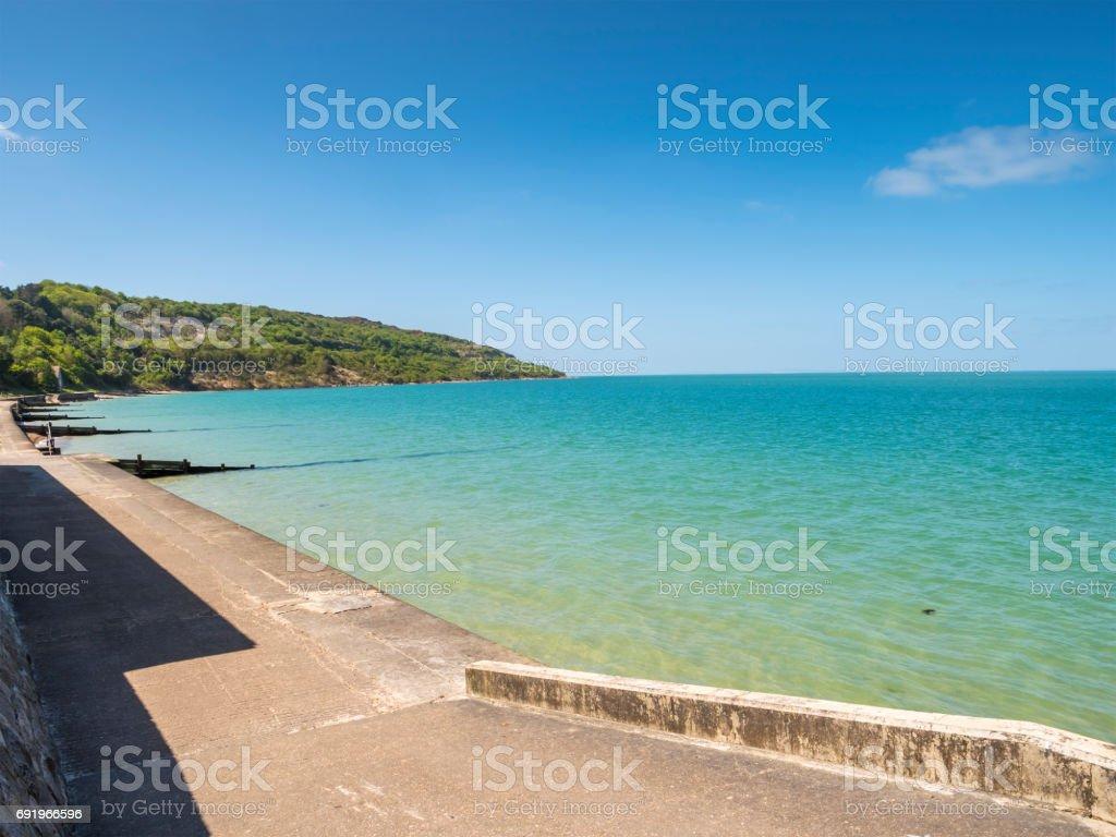Isle of Wight coast Alum Bay next to the Needles stock photo